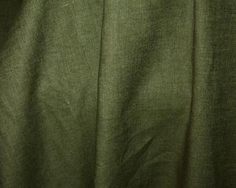 "Hemp blend textured olive green fabric- 56"" wide - BTY"