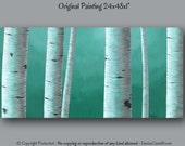Large wall art, Teal home decor, Birch tree painting, Office decor, Gray & teal Master bedroom, Large canvas, Living Dining room wall decor