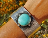 Handmade Sleeping Beauty Turquoise and Sterling Silver Cuff