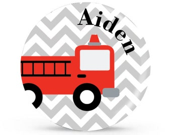 Personalized Plate - Fire Truck - Personalized Plate for Boys