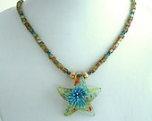 Starfish Necklace with Handmade Lamp Work Glass Pendant and Iridescent Yellow Citrine Glass Beads & Turquoise Blue Swarovski Crystals