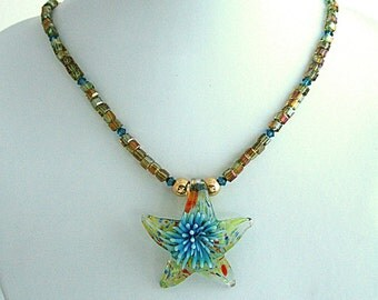 ON SALE Starfish Necklace Ethereal Handmade Lamp Work Glass Pendant Iridescent Yellow Citrine Glass Beads & Turquoise Swarovski Crystals