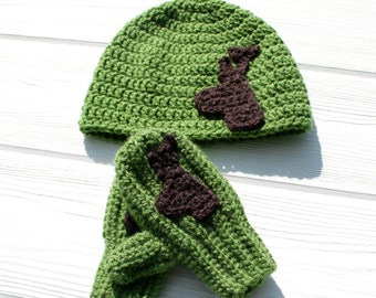 Deer Hat and Mitten Set, Animal Hat, Children's Hat and Mittens, Made to Order