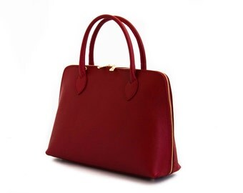 Handmade Tote Bag, Red Italian Leather Purse, Designer Leather Handbag, Leather Briefcase -.- the Haupu  -.-  winter sale 30% off