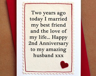 Handmade Second Anniversary Card for Husband or Wife