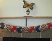 4th of July burlap banner-photo decorations-table banner-Patriotic burlap and ribbon banner