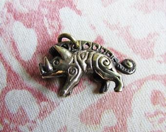 Viking's Wild Boar Pendant, Gullinbursti, Cast Brass