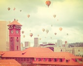 Portland Oregon Photograph Union Station Hot Air Balloons--Fine Art Lomography 8x12