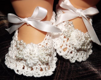 Fancy and Beautiful, elegant Baby Booties, White with beads, Handmade, Crochet