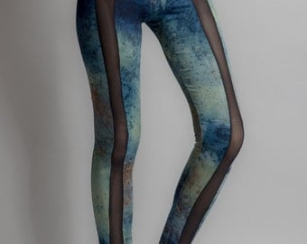 Hand dyed printed legging S , M and L