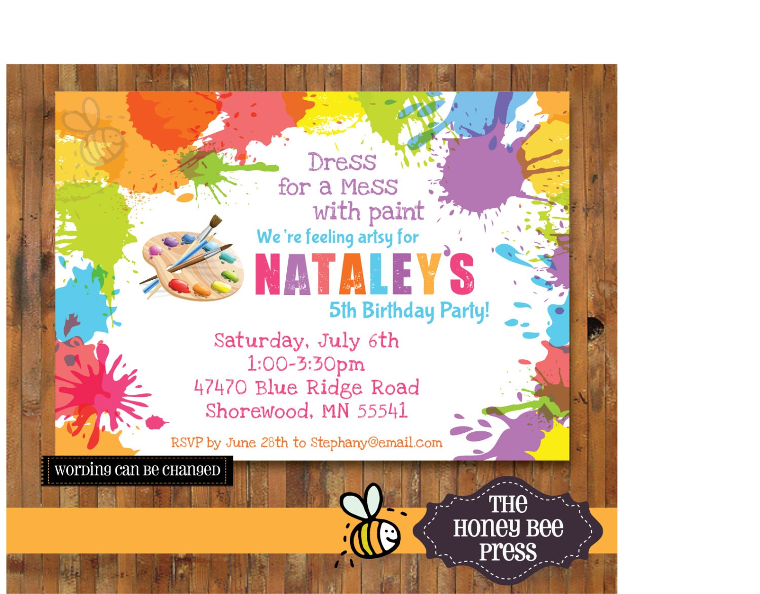 Art Party Invitation Splatter Paint Birthday Party – Artist Party Invitations