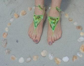 Sandals, Barefoot Sandals, Womens Green Variegated Crochet Barefoot Sandals Style 77