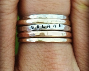 Sterling Silver Stamped Stack Ring 12g