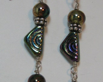 Porcelain and glass bead sterling silver dangle earrings