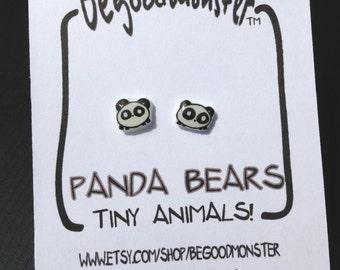 Panda Bear Earrings  - Studs -  Shrinky Dink - Shrink Plastic