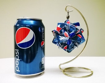 Pepsi Can Origami Ornament.  Upcycled Recycled Repurposed Art