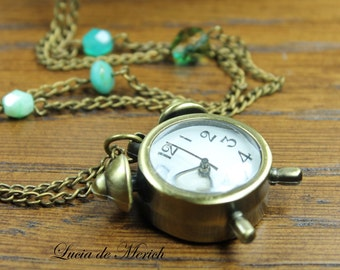 Alarm clock necklace - vintage style pocket watch with czech glass beads