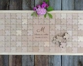 96 pieces Rustic Wedding Guest Book Puzzle -Guest Book Alternative - Mixed grain pieces