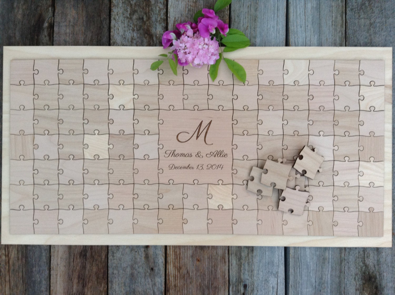 96 pieces rustic wedding guest book puzzle guest book