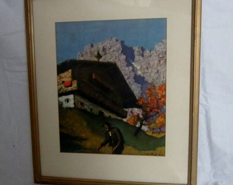Mid Century Austria Mountain Lodge 1951 Vintage Frame Ready to Hang Kitzbuhel Alps Tyrol Austria Mountain Man Hiking Wall Hanging