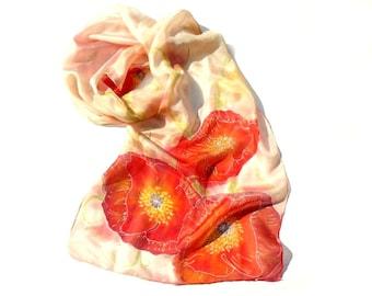 Red poppy silk scarf, Peach scarf with poppy flower