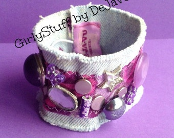 Denim Jean Bracelet, recycled vintage buttons, beads, rhinestones, fabric, pink / purple, light denim, handmade, OOAK, egst, made in Greece