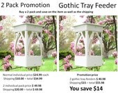 NEW promotional item vinyl Gothic tray feeders. PVC unique Gothic design handmade in USA fully functional - matching pair - Big savings