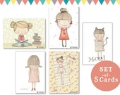 set of 5 cards - girls