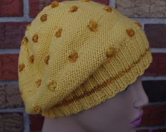 100%Italian merino wool hand knit  womens beret