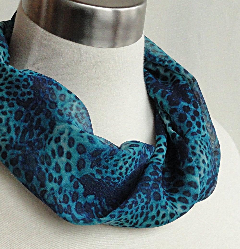 animal print infinity scarf blue cheetah chiffon circle
