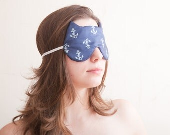 Blue Gifts for Women, Cat Sleep Mask, Nautical Blue Mask, Travel Accessories, Nautical Home Decor, Cat Lover Gift, Cat Party Mask