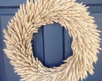 Rustic Natural Dried Wheat Wreath