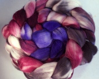 Wine and Sympathy 8oz Handpainted SW Merino Spinning Fiber