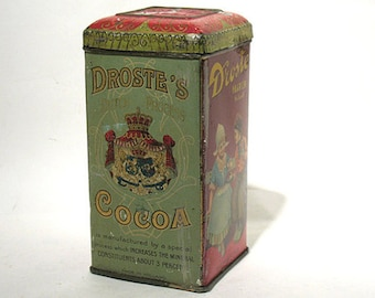 Vintage  Cocoa Tin - Dutch - Droste's - Haarlem Holland - Droste's Dutch Process Cocoa - 8 oz Net Weight Tin - Hinged Lid - Made in Holland