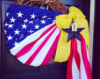 Patriotic Flag Wreath - Deployed Soldier - XLARGE 24'' WREATH Grapevine - 4th of July wreath - Memorial Day LIMITED in supply - order soon