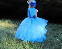 Blue McCaw costume, Feather dress, Flower girl feather Tutu Dress, Bird costume, Rio Costume