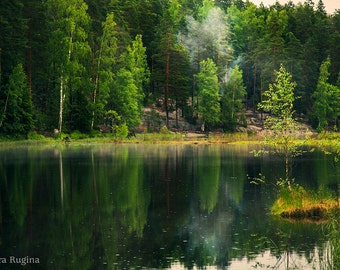 Nature wall art, calming decor, Finland, forest reflected in water, print to frame for your wall, dark fantasy land, dreamy wild landscape