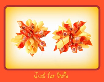 Fall Sunflowers Korker Dog Bows