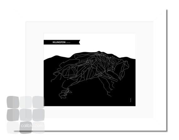 Killington Trail Map - 8x10 - Modern Art Print