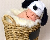 Soft and fuzzy  Snoopy Dog Crochet hat  Puppy  Hat, photography prop,0 to 3 months, crochet hat