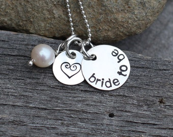 Hand Stamped Sterling Silver Bride to Be Necklace