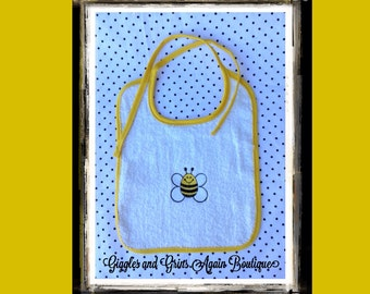 Baby Bib - Embroidered Happy as a Bee Can Be -  Baby Bib