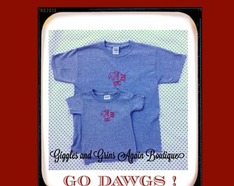 University of Georgia Bulldogs- UGA -  Daddy and Me, Mommy and Me or Sibling - SIC EM - Tees or Bodysuits
