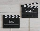 Photobooth clapperboard props with messages
