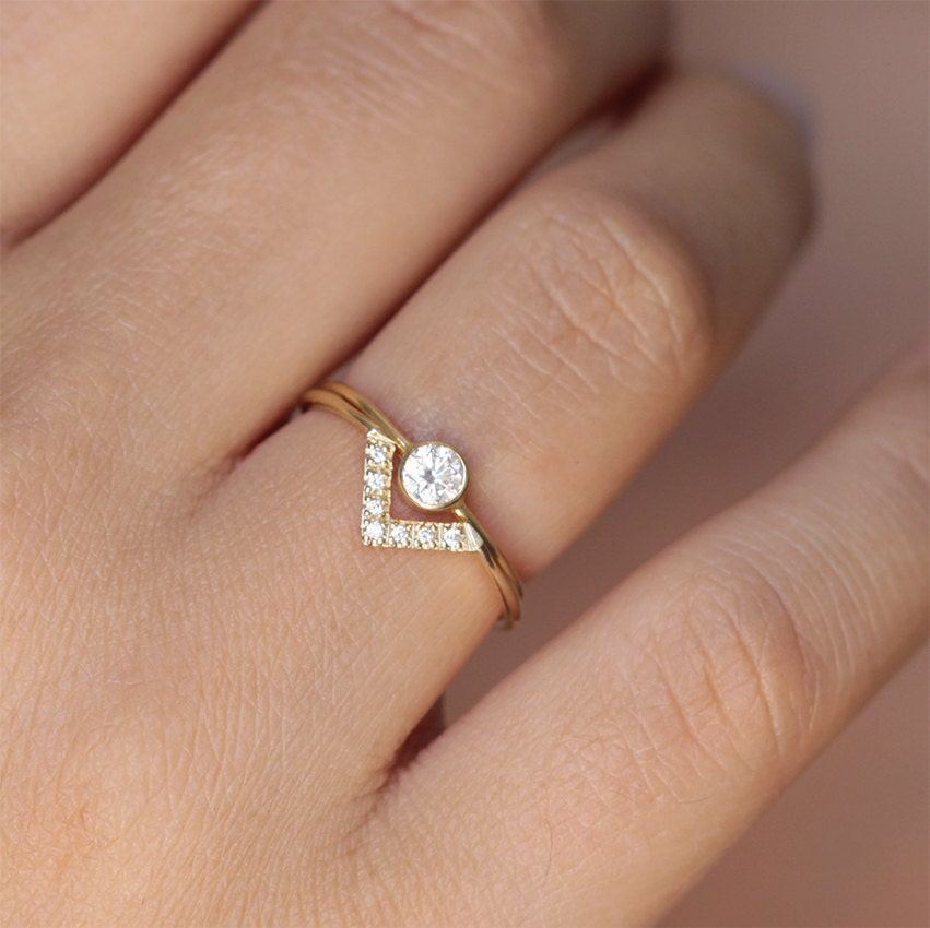 Simple Wedding Ring Set Bespoke Engagement Ring Minimalist