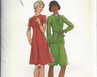 Butterick 3278 VTG Dress with Inverted Center Pleat and Jacket Pattern, Size 18 1/2 UNCUT