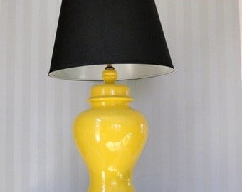 Vintage Lemon Drop Light Mellow Yellow  Chinosierie Chic Lamp Ginger Jar Asian Inspired Table Lamp Walnut Ebony Base Eclectic Home Decor
