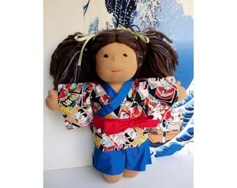 "Blue 15"" Doll kimono jimbei for a Waldorf inspired dolls dress, Japanese fabric kimono cotton yukata kimono doll,  japanese doll yukata"