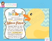 Rubber Duck Baby Shower Invitations - Printed Baby Shower Invitations - Custom Invitations