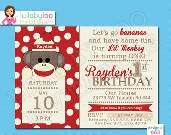 Sock Monkey Birthday Invitations - Printed Invitations - Custom Invitations